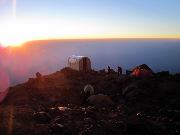 The hut camp on Ixta (photo: Matthew Cave)