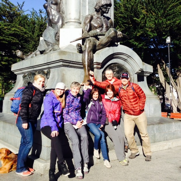 Group at the Magellan Statue in Punta Arenas (Tye Chapman)