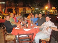 Hamill's team having dinner in Mendoza.