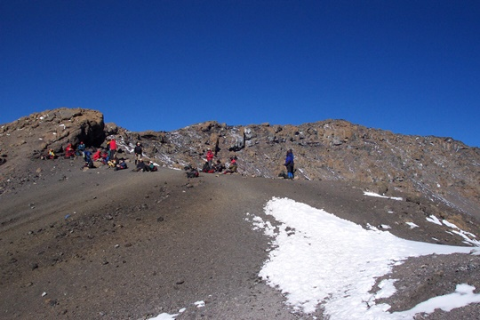 The view from Stella Point looking across the crater to Uhuru Peak, the highest point in Africa (Eric Simonson)
