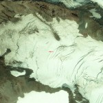 The Cowlitz Glacier and Camp Muir (bottom center) from way up high. Photo from GeoEye 1 Satellite.
