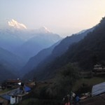 Sunrise from Landrung, looking up the valley towards Annapurna South and Hiunchuli (Jenni Pfafman)