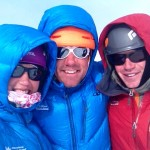 Guides Jess Culver (left), Jonathan Schrock (center) and Cedric Gamble (right) celebrating their first summit of 2014.