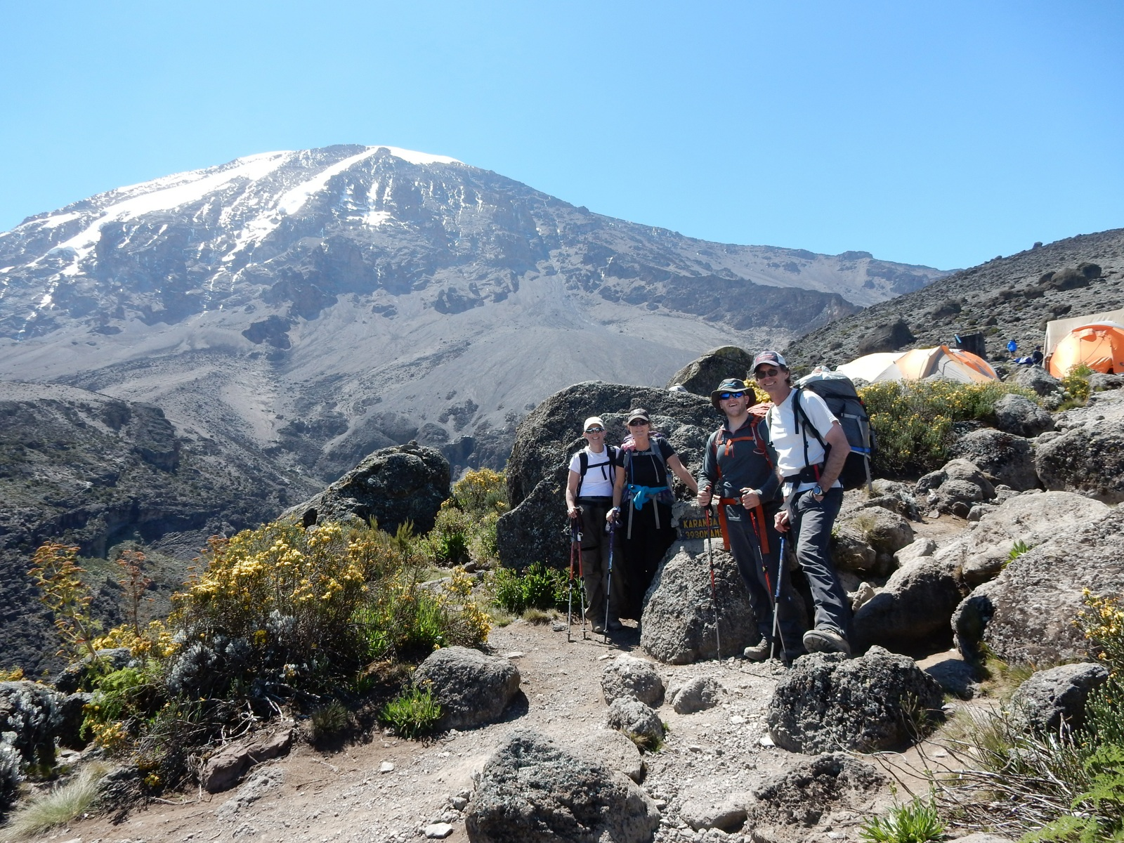 IMG Kili climbers arrive at Karanga Camp (Craig John)