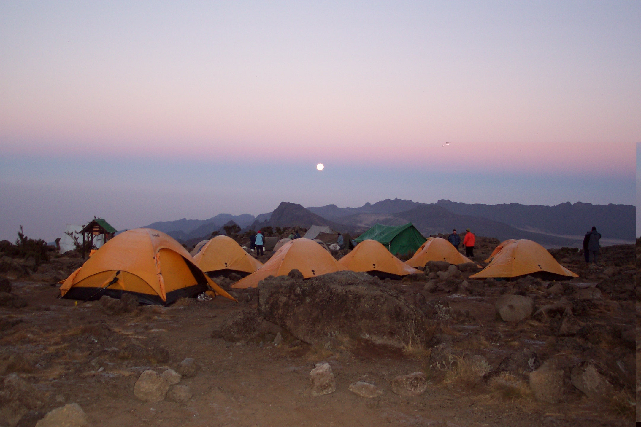 Shira Camp at sunset with the view west across the plateau towards the Cathedral Peaks (Eric Simonson)