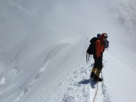 Descending the Breithorn, Zermatt. (Photo by Miles Smart)