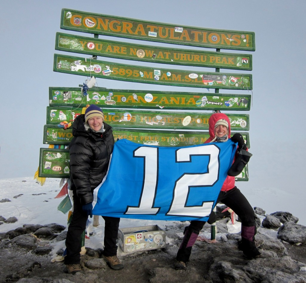 """Every member of our Kili group summited, and we did so as a team, which made the experience even more special. There were challenging times but we got through it together..."" – Steph Decker with her husband George on Uhuru Peak"