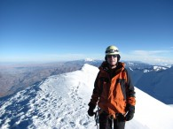 On the summit ridge of Illimani (Greg Venovage)