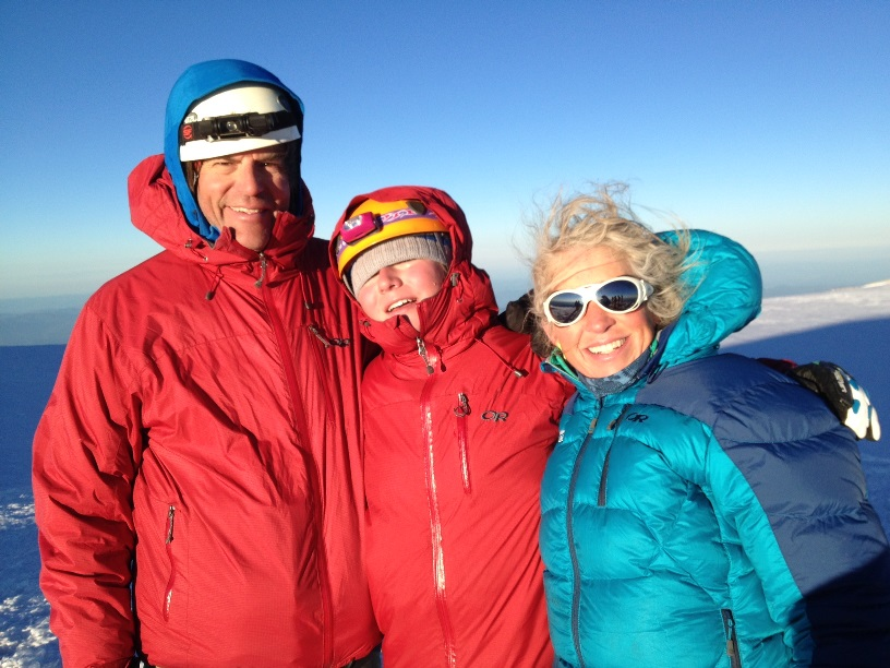 Eric, Audrey, and Emily share a perfect morning on the summit of Rainier  (Jason Edwards)