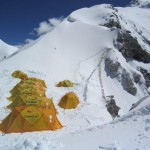 Camp 1 on Cho Oyu just below the fixed lines (Ang Jangbu)