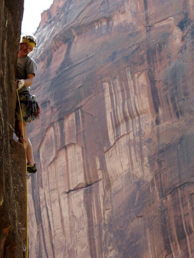 Cedric Gamble climbing The Pulpit in Zion National Park (Kyle Rosenberger)
