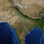 Cyclone Hudhud track heading to the West of the Khumbu Valley