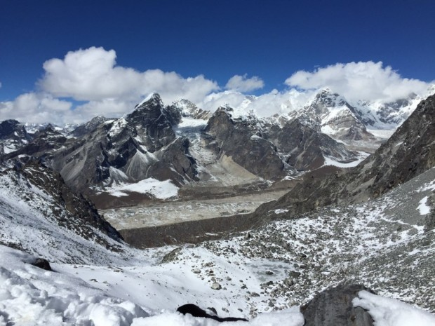 Looking West to Khumbu Glacier and Lobuche Peak from Khongma La (Tye Chapman)
