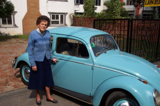 Liz Hawley and her famous blue VW, both well preserved, in Kathmandu.  (Eric Simonson)