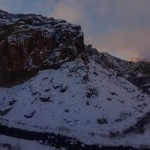 Panorama of snow covered Smith Rocks