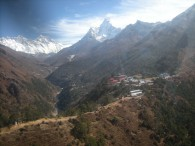 Helicopter view of the Dudh Kosi valley with Nuptse, Everest, Lhotse, Ama Dablam and Tengboche monastery (Eric Simonson)