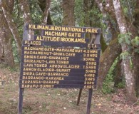 Sign at the Machame Gate (about 5800 feet)  at the beginning of the climb  (Eric Simonson)