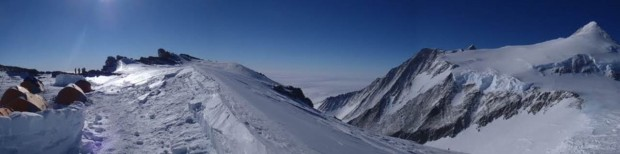 Panorama at High Camp showing Mt. Shinn on the right. (Photo by Rob Marshall)