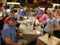 Josh Tapp and his team at dinner in Mendoza.