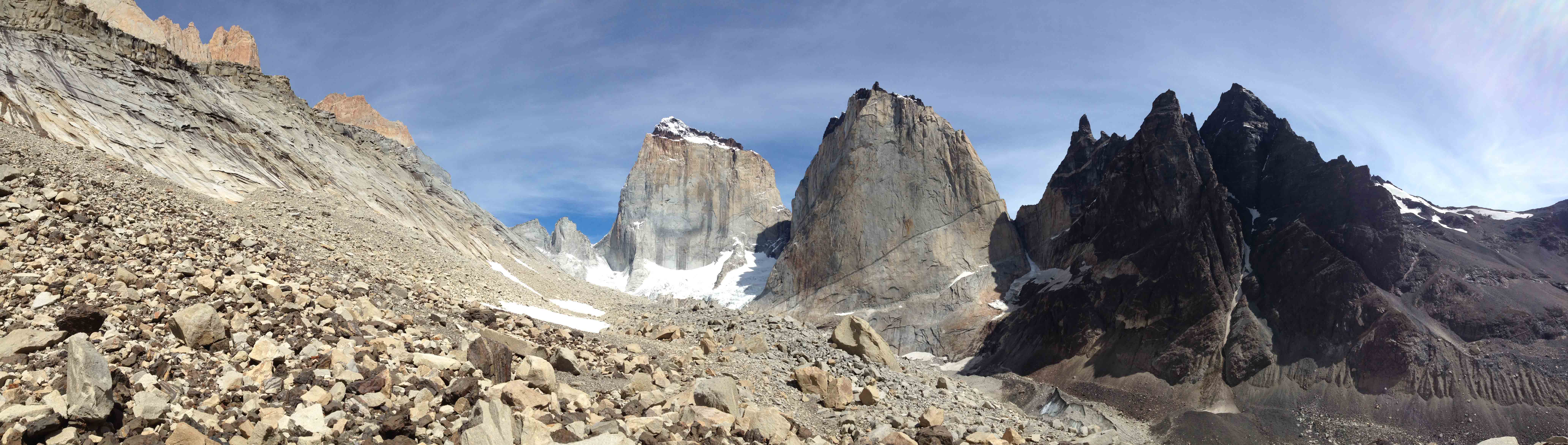 A panorama of the Silence Valley with La Fortaleza and El Escudo in the in the middle (L to R). (Tye Chapman)