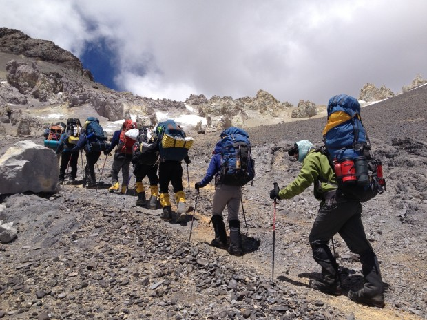 The move to High Camp on Aconcagua (Peter Adams)