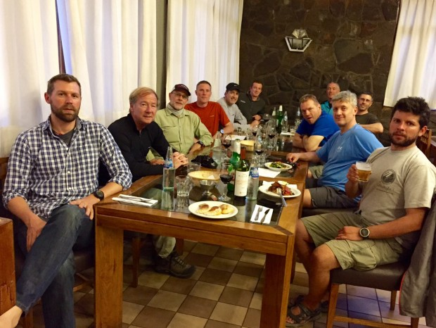 Mike's team having dinner in Penitentes.