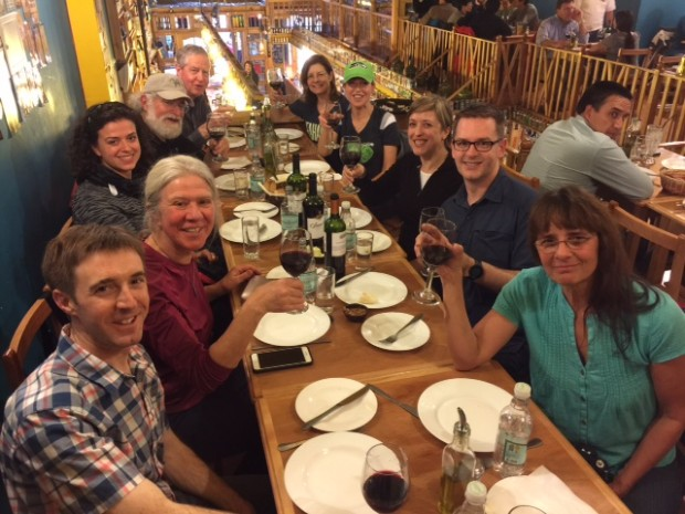 The team at dinner last night in Punta Arenas.