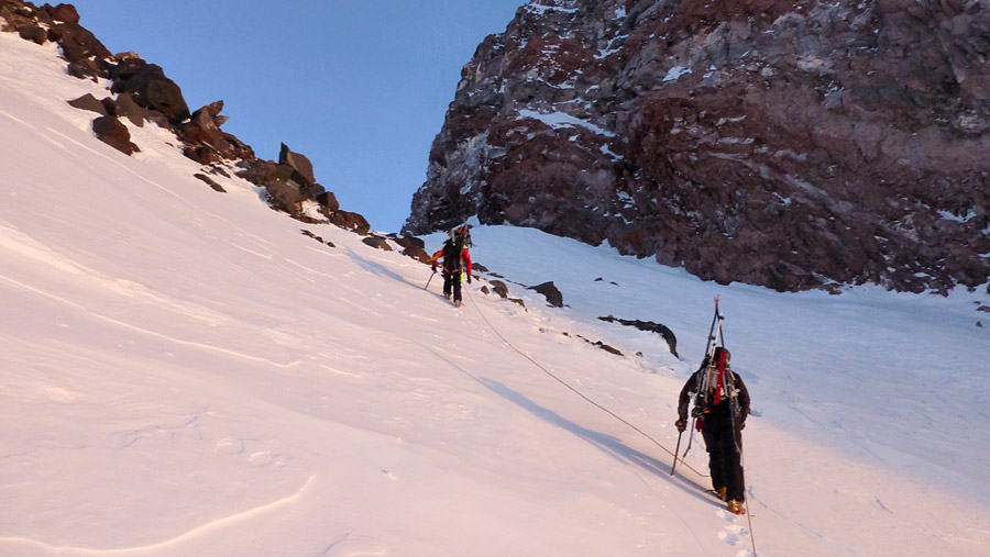 Crossing the Cowlitz Glacier. (Photo by Dallas Glass)