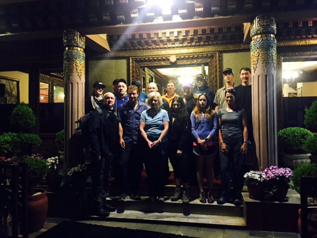 The first team of IMG trekkers and climbers departing the Hotel Tibet in Kathmandu before dawn for the Lukla flights (photo: Ang Jangbu)
