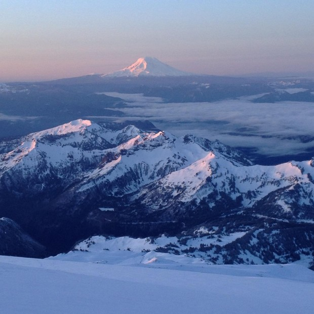 A classic shot of Mt. Adams from Camp Muir (Chris Meder)