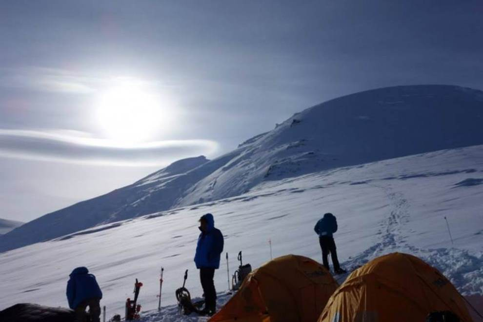 High camp at 12,000+ feet on the Russell Glacier. (Photo: Tom Allred)