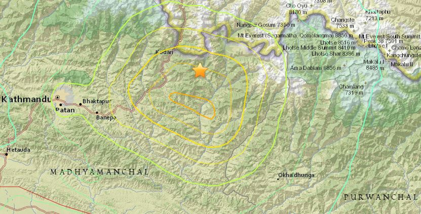 USGS May 12, 2015 Nepal earthquake map
