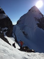 Approaching the Ridge on Pequeno Alpamayo (Mike Hamill)
