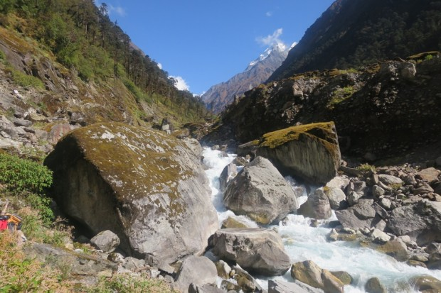 Trekking along the Hinku Khola below Khote (Eric Simonson)