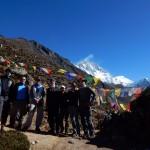The Lobuche team with Lhotse in the background. (Cedric Gamble)