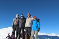 Summit shot from Mera Peak— Dan, Anthony, Eric, Phunuru (Eric Simonson)