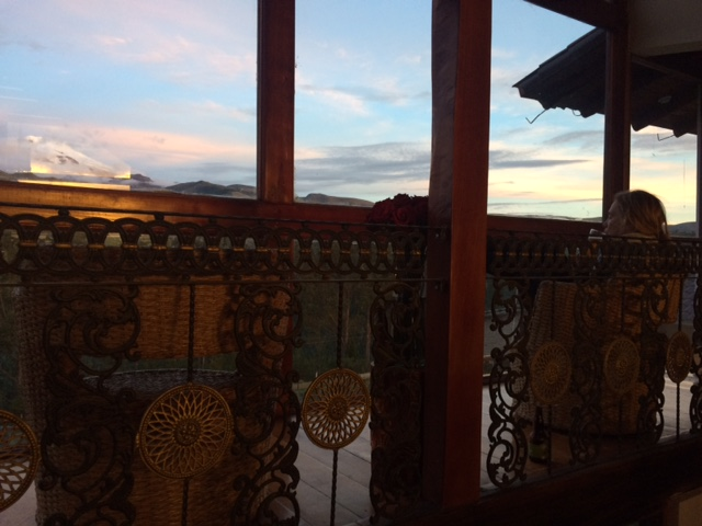 Relaxing at Papa Gayo, with Cayambe in the distance.