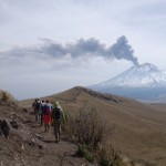 Acclimatization hike with a smoking Popo in the background