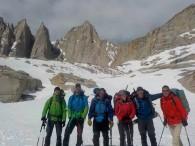 March 19-22 team at High Camp (Brandon, Jeremy, Matt, Amanda, Doug & George). (Photo by Tristan)