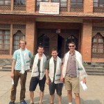 IMG guides Jonathan Schrock, Justin Merle, Josh McDowell, and Greg Vernovage in front of the Ministry building in Kathmandu (photo: Ang Jangbu)