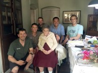 IMG guides Jonathan Schrock, Greg Vernovage, Josh McDowell, Ang Jangbu, and Justin Merle with the legendary Liz Hawley in Kathmandu