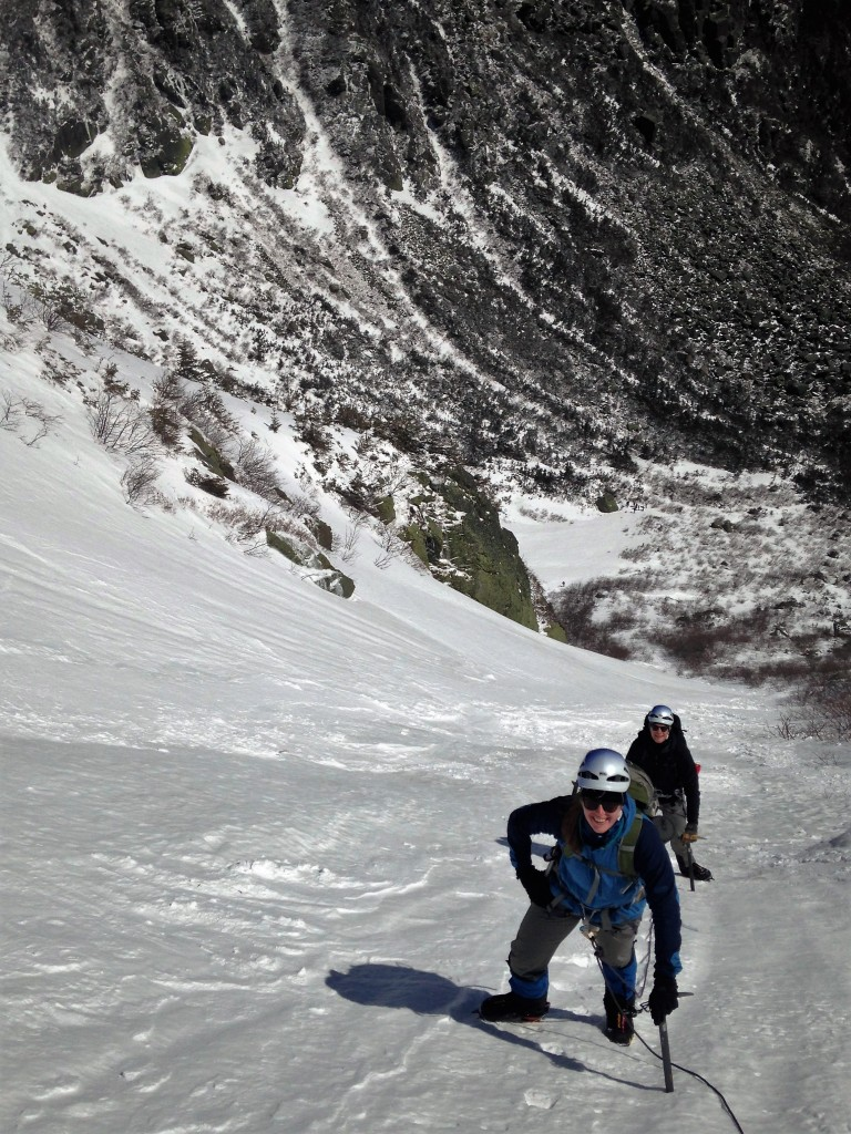 Climbing Left Gully in Tuckerman's Ravine.
