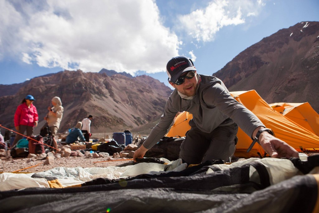 Rob setting up a tent on Aconcagua.