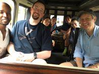 The team leaving on safari.