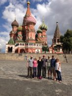 Team standing in front of St. Basil's Cathedral after having toured the Kremlin and Red Square.