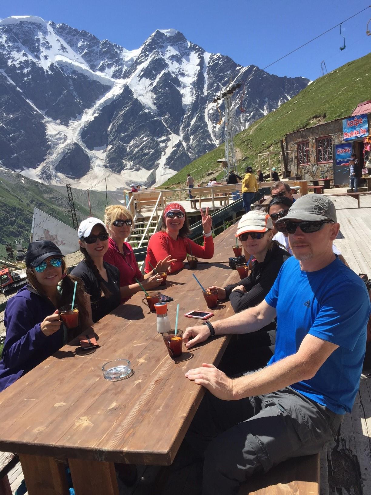 Elbrus team at Cheget ski area eating shashlik (Mike Hamill)