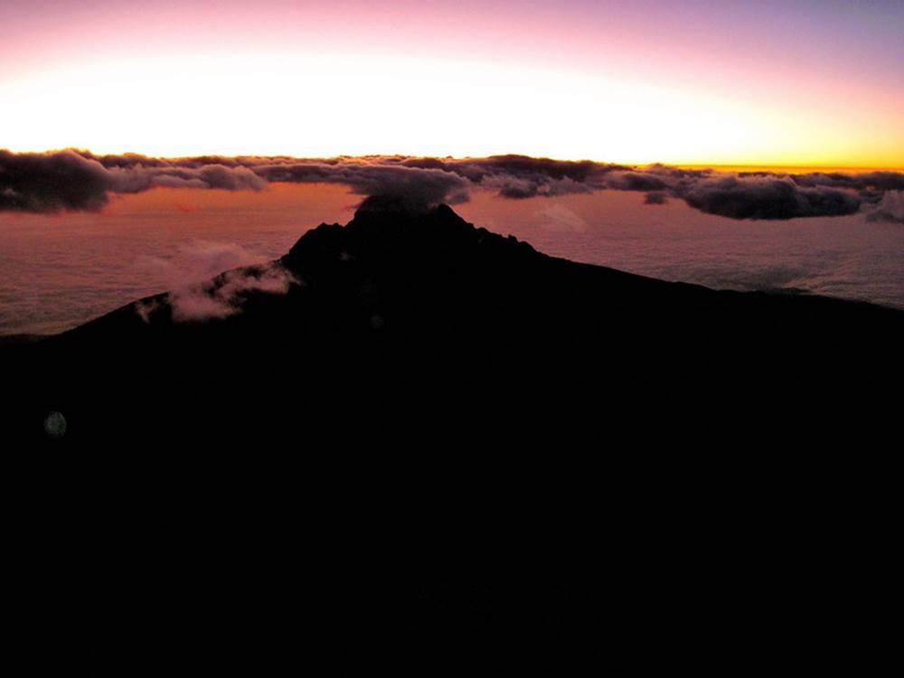 Sunrise on the way to the top.