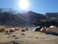 Illimani Base Camp with the summit in the upper left side of the picture  (Greg Vernovage)