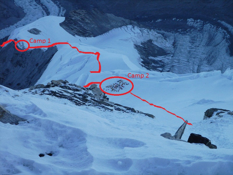 Looking down from Camp 3 at route from C1 to C2 (Greg Vernovage)
