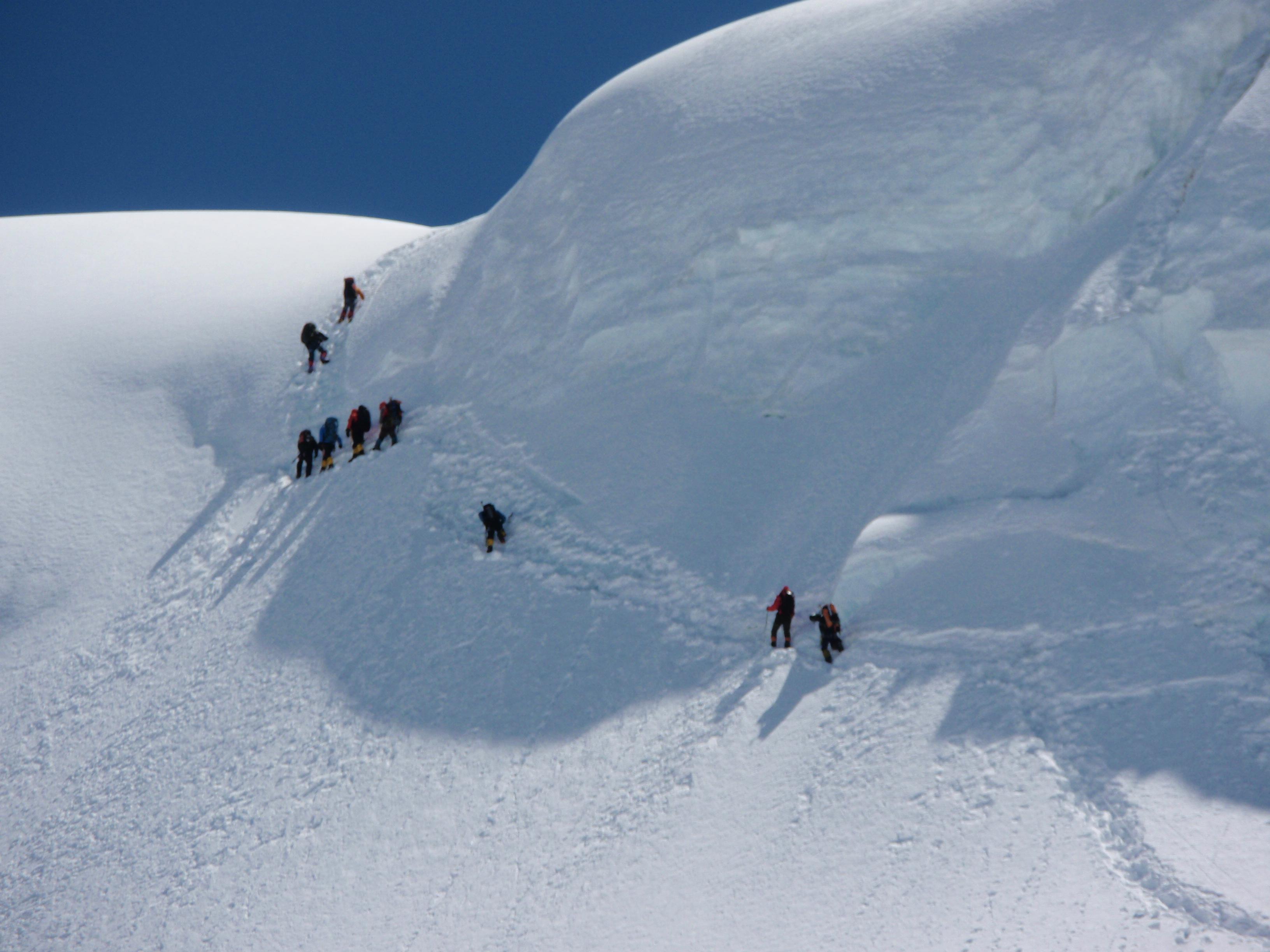 Climbing to Camp 2 through the ice cliff (Greg Vernovage)